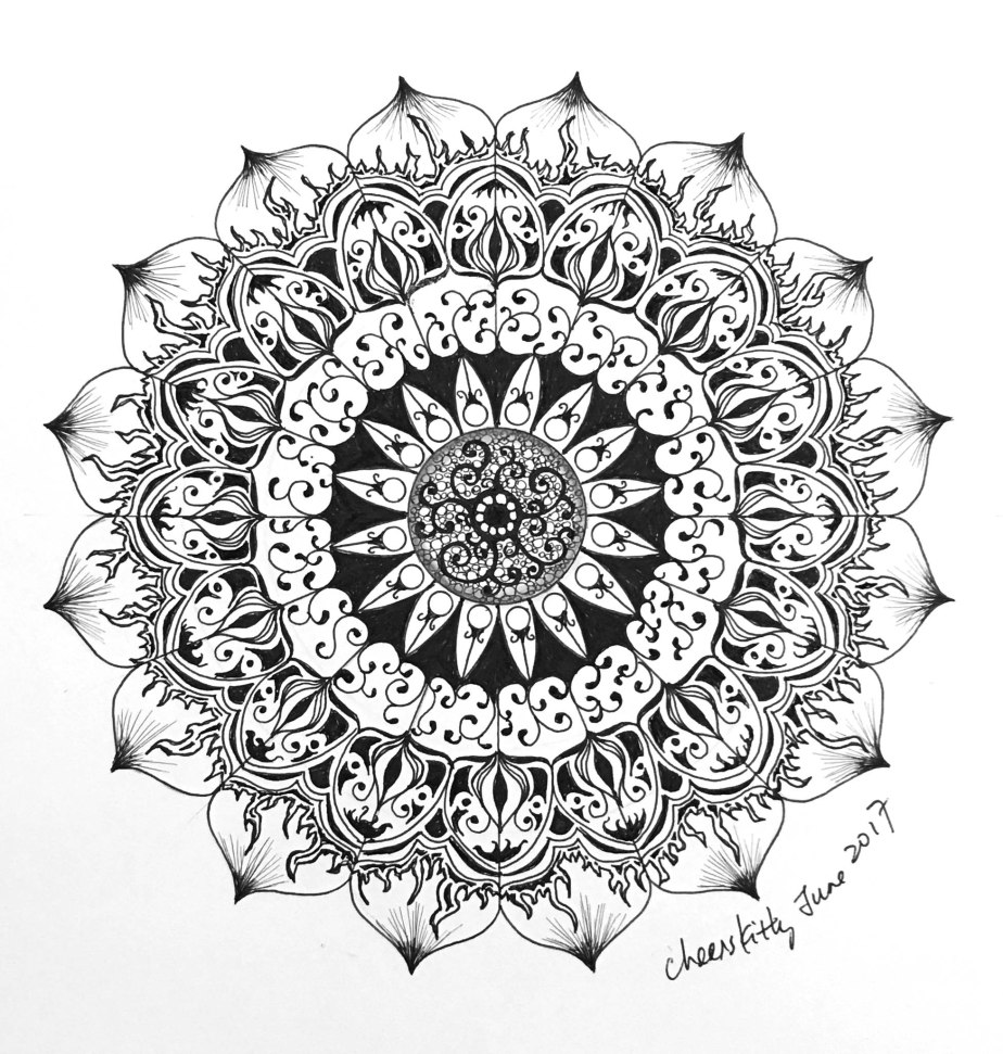 Creative mandala pen drawing