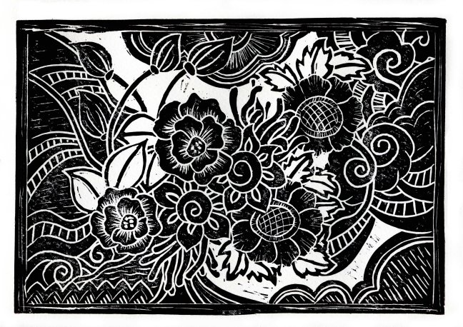 Zentangle lino cut.  Flowers and Clouds